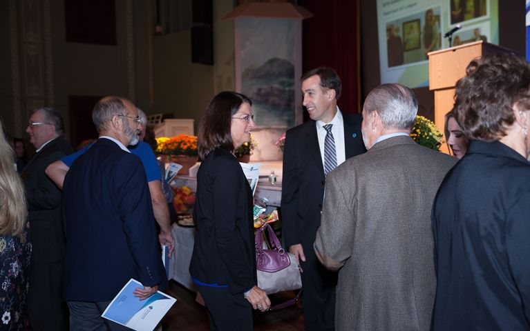 President of Thomaston Savings Bank, Stephen L. Lewis, smiles while talking to people at the 2017 TSB Foundation Night