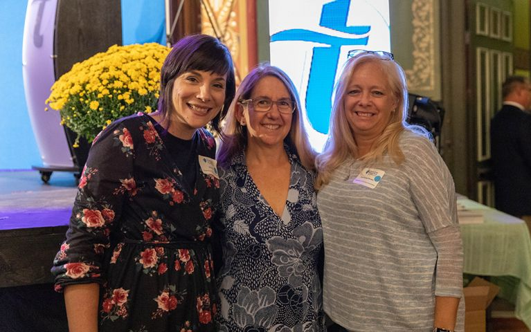 Three women pose together for a picture at the 2018 TSB Foundation Night