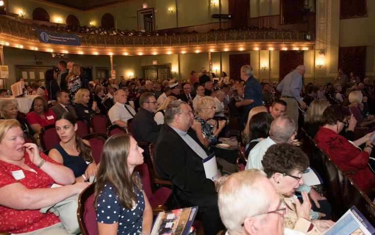 The crowd is seated in theater during Thomaston Savings Bank 2019 Foundation Night.